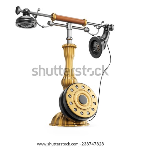 Retro phone isolated on white background. 3d render - stock photo