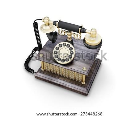 Retro phone isolated on white background. Vintage telephone. 3d illustration. - stock photo