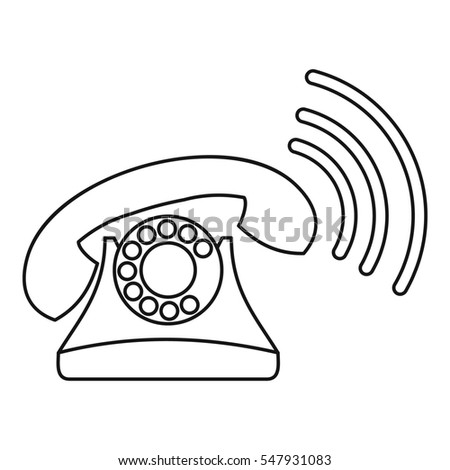 Retro phone ringing icon. Outline illustration of retro phone ringing  icon for web