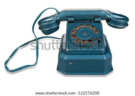 Retro Phone - Vintage Telephone isolated on White Background - stock photo