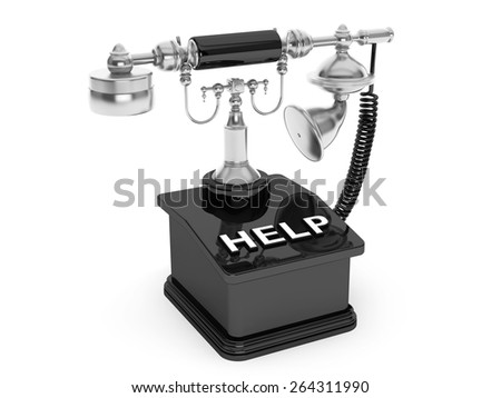 Retro Phone. Vintage Telephone with Help Sign on a white background - stock photo