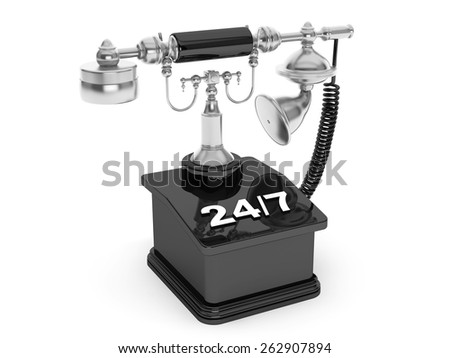 Retro Phone. Vintage Telephone with 24/7 Sign on a white background - stock photo