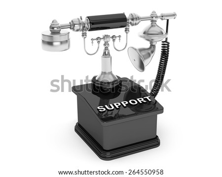 Retro Phone. Vintage Telephone with Support Sign on a white background - stock photo
