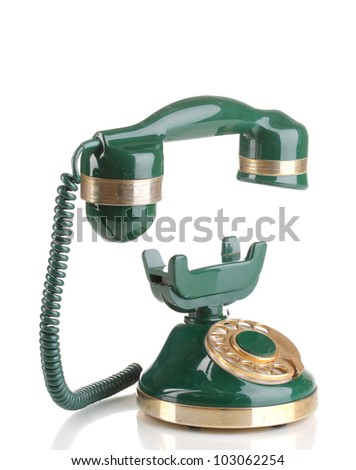 Retro phone with floating handset isolated on white - stock photo