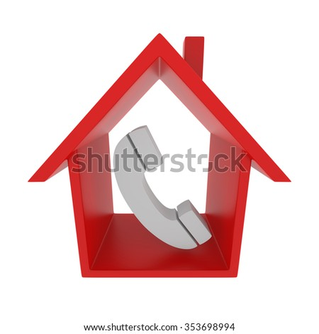 Retro Phone with Red Home Icon. 3d Rendering - stock photo