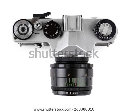 Retro photo camera isolated on white - stock photo