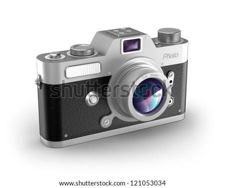 Retro photo camera over white. My own design. - stock photo