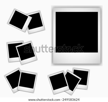 Retro photo frame isolated on white background.  - stock photo