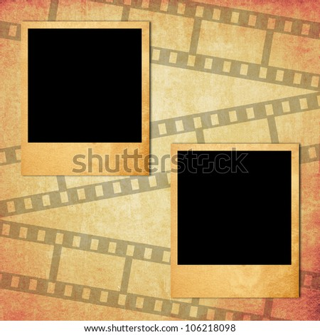 Retro photo frame on old paper with filmstrip