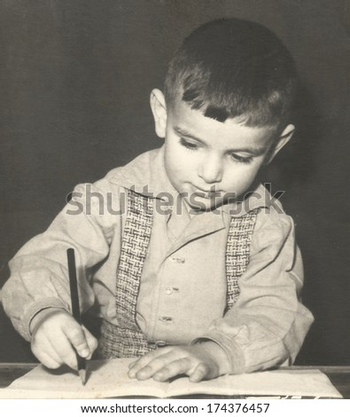 Retro photo of a young boy