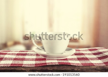 retro photo of coffee and red napkin  - stock photo