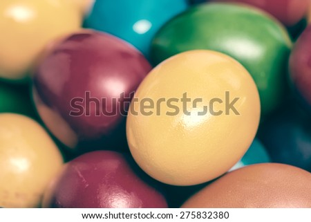 Retro Photo Of Easter Eggs Pile In Basket