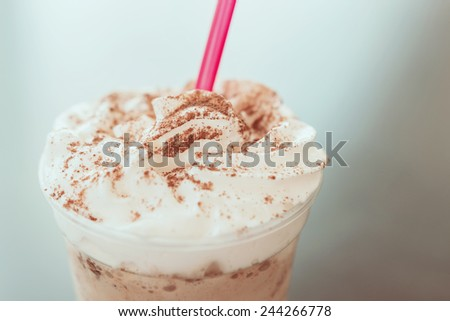 Retro Photo Of Frappe Iced Coffee Drink - stock photo