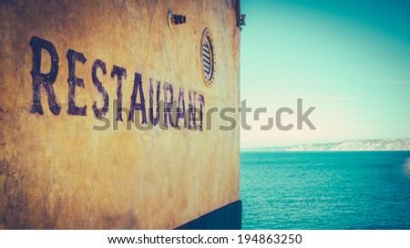 Retro Photo Of Rustic Restaurant By The Sea In Marseille, South Of France - stock photo