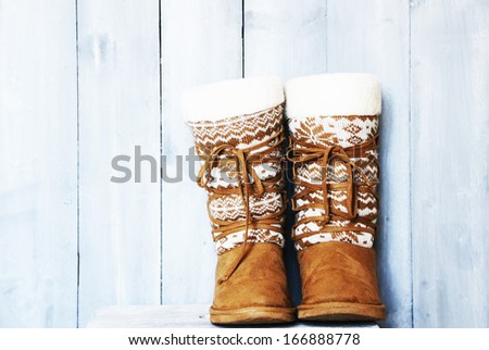 Retro photo of winter shoes - stock photo