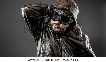 Retro pilot cap and goggles motorcycle vintage style