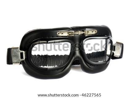 Retro pilot goggles isolated in white - stock photo