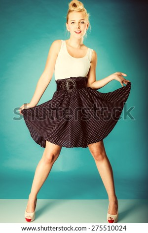 Retro pin up woman style. Beauty young full length girl in studio. Vintagee photo. - stock photo