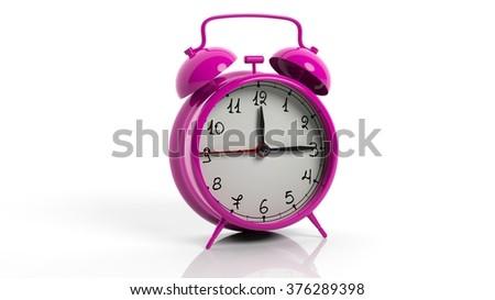 Retro pink alarm clock, isolated on white background. - stock photo
