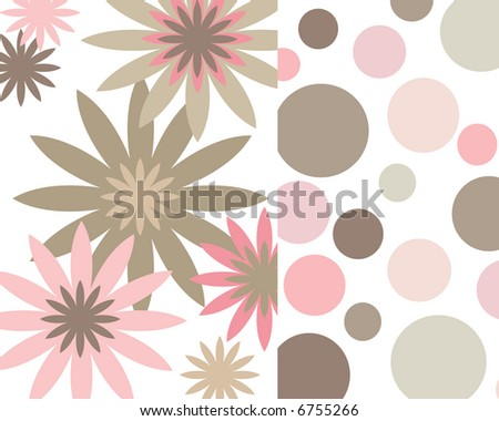 Retro pink and brown flowers and circles collage