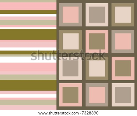Retro pink and brown stripes and squares collage