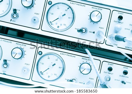 retro pointer measuring instruments physics experiment - stock photo