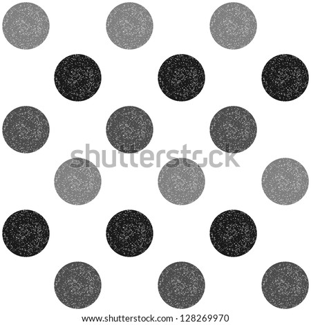 Retro polka dot seamless pattern (raster version) - stock photo