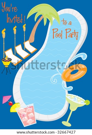Retro Pool Party Invitation with cocktails with room for text