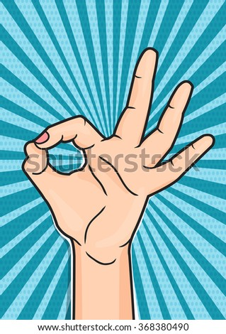 Retro pop art poster with OK hand sign. Woman showing OKAY hand gesture, comic style illustration. - stock photo