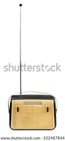 Retro portable radio with long antenna isolated on white - stock photo