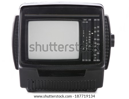 retro portable television set with empty screen isolated . - stock photo