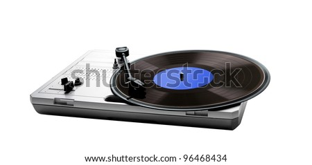 Retro portable turntable isolated and vinyl isolated - stock photo
