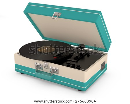 Retro portable turntable isolated on white. (3D Render) - stock photo