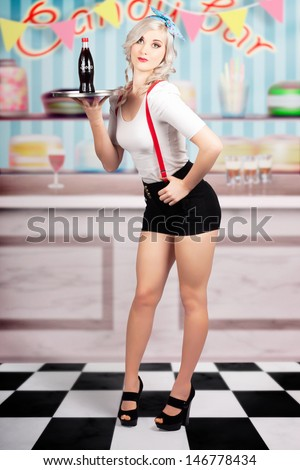 Retro portrait of a beautiful pin-up woman serving up soda drinks at a vintage candy bar on. Hand drawn clip art background - stock photo