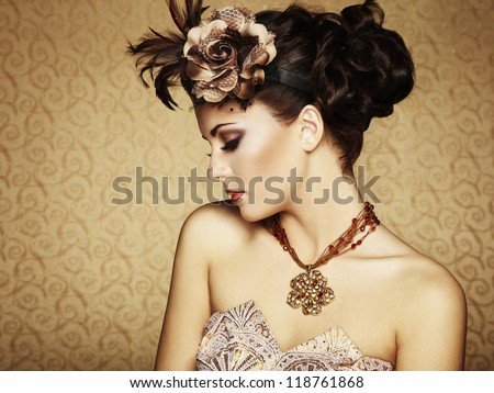 Retro portrait of a beautiful woman. Vintage style. Fashion photo - stock photo
