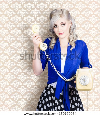 Retro portrait of a lovely woman talking on vintage yellow phone. Wallpaper copyspace  - stock photo