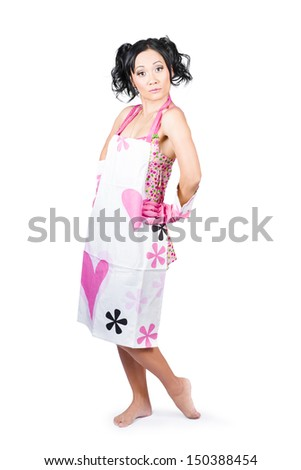 Retro portrait of a young gorgeous pinup housewife wearing cleaning apron, isolated over white - stock photo