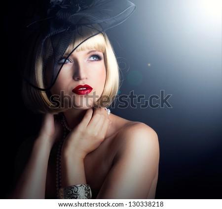 retro portrait of beautiful woman - stock photo