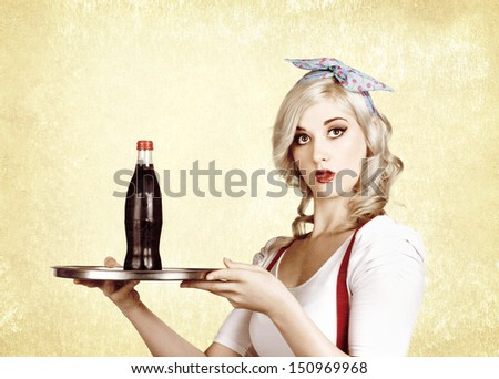 Retro portrait of cute woman holding a cola drink serving tray. Cafe and bistro bar service - stock photo
