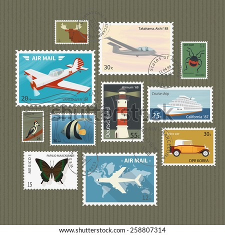 Retro postage stamps collection on textured paper - stock photo