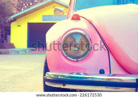 Retro postcard of the vintage car  - stock photo