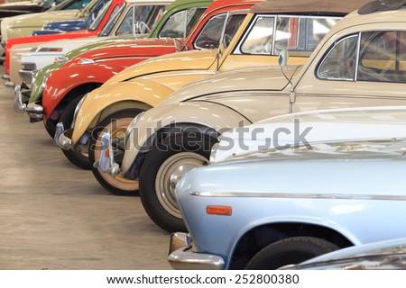 Retro postcard of the vintage car - stock photo