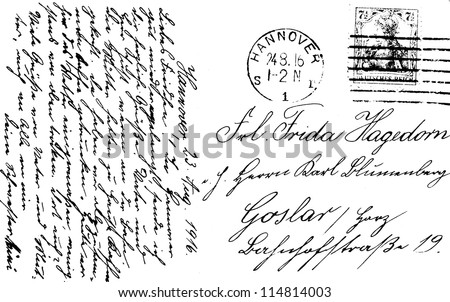 Retro postcard with stamp 1916