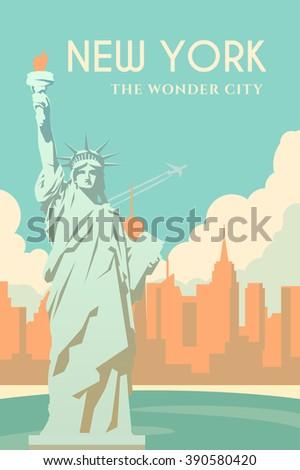 Retro poster in art Deco style. New York. Cityscape. The statue of liberty. Seaport. Flat design. - stock photo