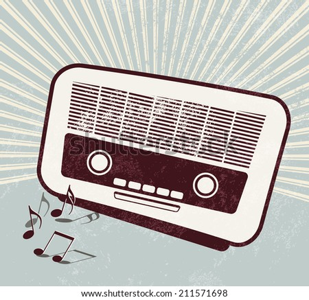 Retro poster - old radio - music template - stock photo