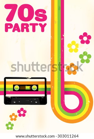 Retro Poster - 70s Party Flyer With Audio Cassette Tape - stock photo