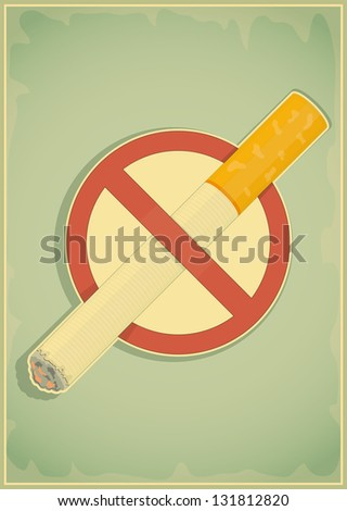 Retro poster - The Sign No Smoking in Vintage Style - JPEG version. - stock photo