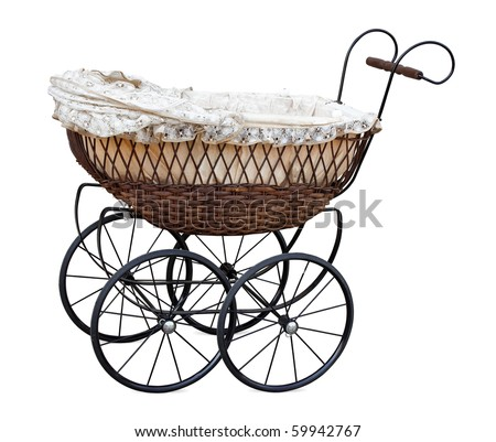 Retro pram isolated on white. Clipping path included. - stock photo