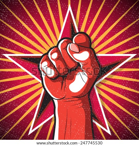 Retro Punching Fist Sign. Great illustration of Russian Propaganda style punching Fist symbolising Revolution.  - stock photo
