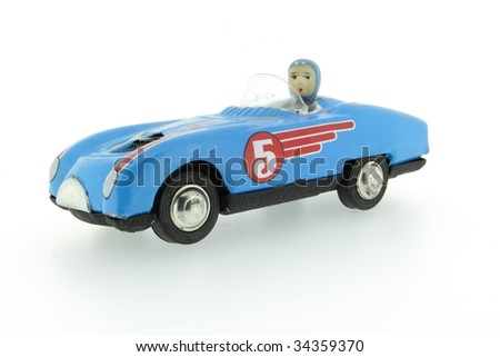 retro race car with number 5 five - stock photo